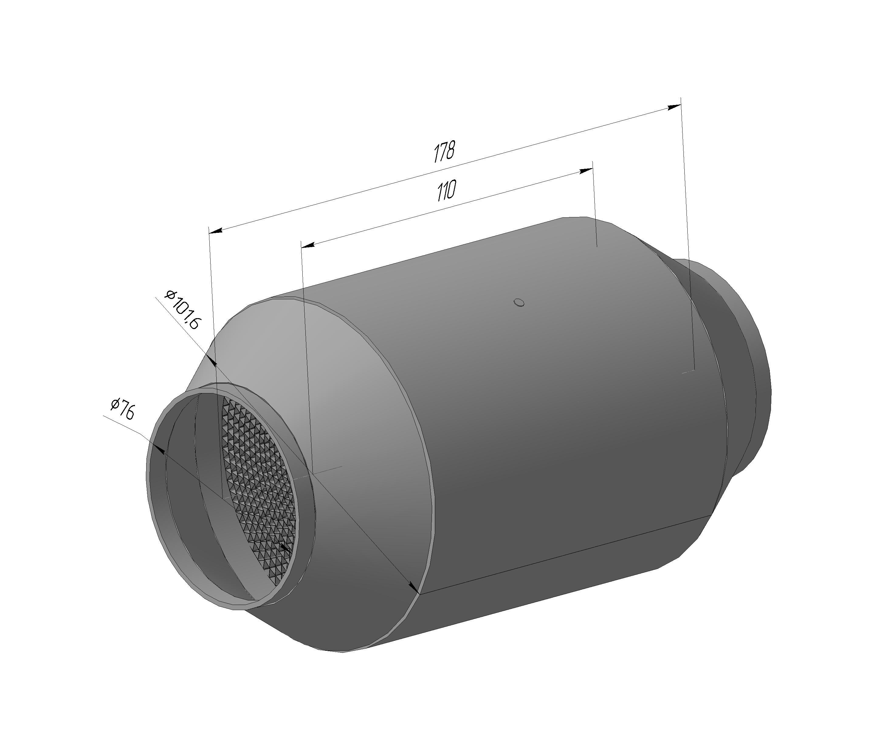 Спортивный каталитический нейтрализатор ЭМ.1206.118.76-01 ( ф блока-118 мм, ф входа/Выхода-76мм,