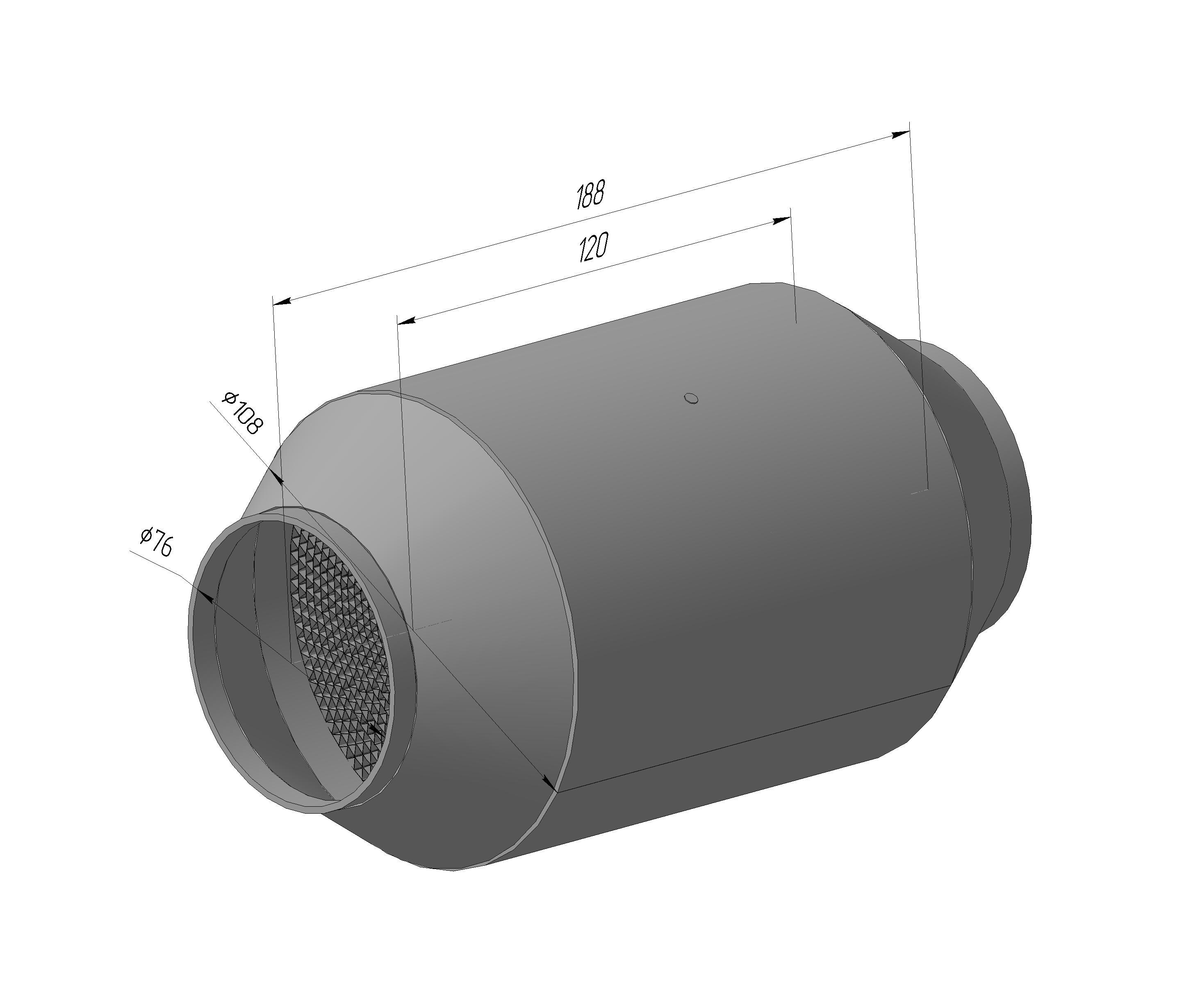Спортивный каталитический нейтрализатор ЭМ.1206.108.76-01 ( ф блока-108 мм, ф входа/Выхода-76мм, диаметр корпуса 188)