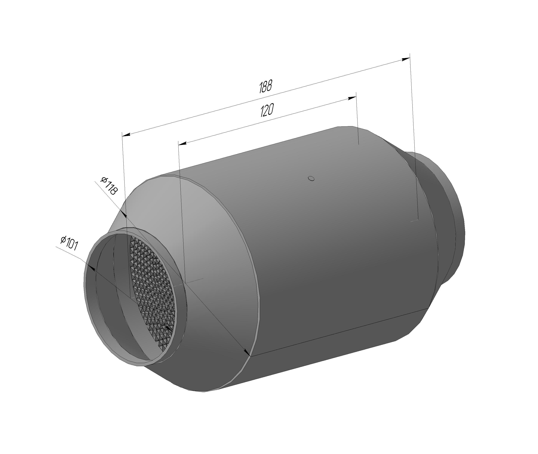 Спортивный каталитический нейтрализатор ЭМ.1206.118.101-01 ( ф блока-118 мм, ф входа/Выхода-101мм, длина корпуса 188)